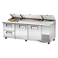 TRUE TPP-93D-2 pizza prep table drawered refrigerator