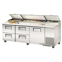 TRUE TPP-93D-4 pizza prep table drawered refrigerator