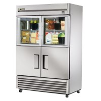 TRUE TS-49-2-G-2 reach-in refrigerator, two glass half and two stainless steel half doors