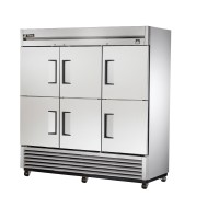 TRUE TS-72-6 reach-in refrigerator, six stainless steel half doors