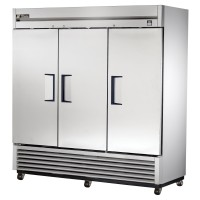 TRUE TS-72 reach-in refrigerator, three stainless steel doors
