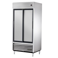 TRUE TSD-33 slide door reach-in refrigerator, two stainless steel doors