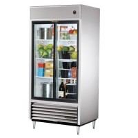 TRUE TSD-33G slide door reach-in refrigerator, two glass doors