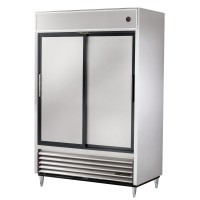 TRUE TSD-47 slide door reach-in refrogerator, two stainless steel doors