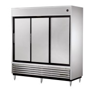 TRUE TSD-69 slide door reach-in refrigerator, three stainless steel doors