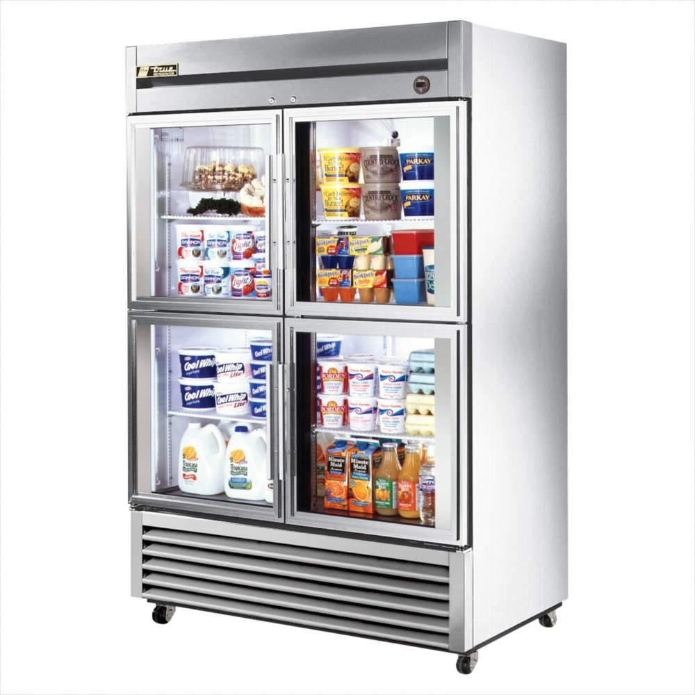 True T 49g 4 Double Half Glass Door Commercial Refrigerator