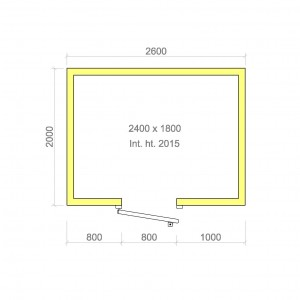 100mm walk in cold room with floor 2400mm x 1800mm x 2015mmh
