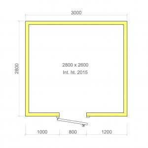 100mm walk in cold room with floor 2800mm x 2600mm x 2015mmh