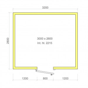 100mm walk in cold room with floor 3000mm x 2600mm x 2215mmh