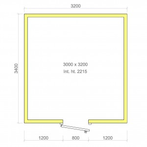 100mm walk in cold room with floor 3000mm x 3200mm x 2215mmh