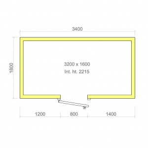 100mm walk in cold room with floor 3200mm x 1600mm x 2215mmh