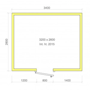 100mm walk in cold room with floor 3200mm x 2600mm x 2015mmh