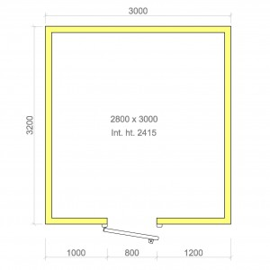 100mm walk in cold room without floor 2800mm x 3000mm x 2415mmh