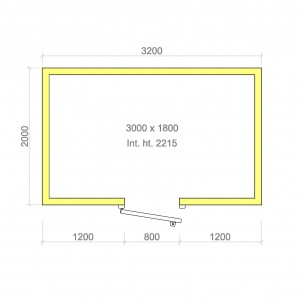 100mm walk in cold room without floor 3000mm x 1800mm x 2215mmh
