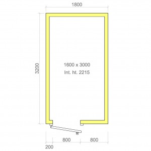100mm walk in freezer room with floor 1600mm x 3000mm x 2215mmh