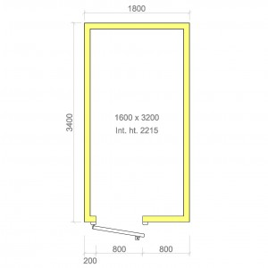 100mm walk in freezer room with floor 1600mm x 3200mm x 2215mmh