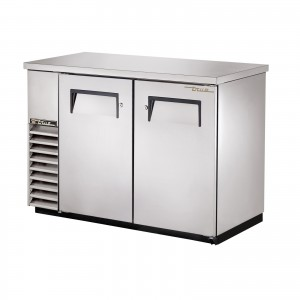 True TBB-24-48-S back bar cooler with solid stainless steel doors