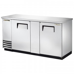 True TBB-3-S back bar cooler with solid stainless steel doors