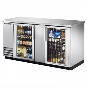 True TBB-3G-S back bar cooler with stainless steel glass doors