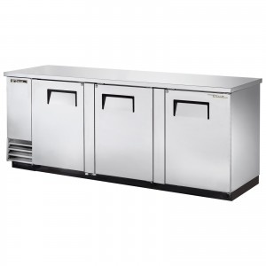 True TBB-4-S back bar cooler with solid stainless steel doors