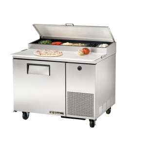 True TPP-44 one-door pizza prep table refrigerator
