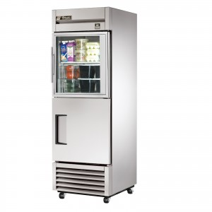 True TS-23-1-G-1 single half glass half solid door commercial refrigerator