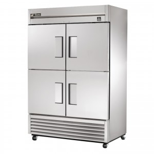 True TS-49F-4 double half-door commercial freezer