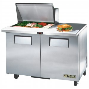 True TSSU-48-12M-B two-door sandwich prep table mega-top refrigerator