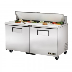 True TSSU-60-16 two-door sandwich prep table refrigerator