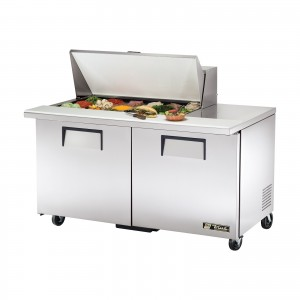 True TSSU-60-18M-B two-door sandwich prep table mega-top refrigerator