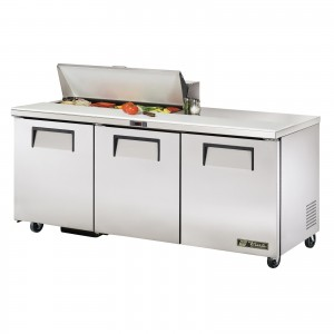 True TSSU-72-10 three-door sandwich prep table refrigerator