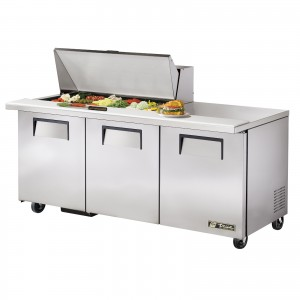 True TSSU-72-18M-B three-door sandwich prep table mega-top refrigerator