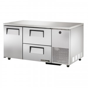True TUC-60-32D-2 one-door two-drawer deep under counter prep table refrigerator