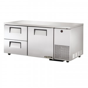True TUC-67D-2 one-door two-drawer deep under counter prep table refrigerator
