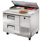 True TPP-44D-2 two-drawer pizza prep table refrigerator
