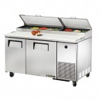 True TPP-60 two-door pizza prep table refrigerator