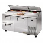 True TPP-67D-2 one-door two-drawer pizza prep table refrigerator