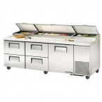 True TPP-93D-4 one-door four-drawer pizza prep table refrigerator