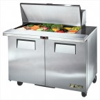 True TSSU-48-18M-B two-door sandwich prep table mega-top refrigerator