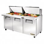 True TSSU-72-30M-B-ST three-door sandwich prep table mega-top refrigerator
