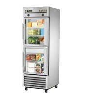 TRUE T-23DT-G dual temperature regriferator/freezer, two glass half doors