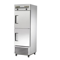 TRUE T-23DT dual temperature refrigerator/freezer, two stainless steel half doors