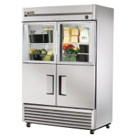 TRUE T-49-2-G-2 reach-in refrigerator, two glass half and two stainless steel half doors