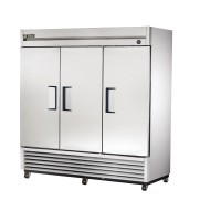 TRUE T-72F reach-in freezer, three stainless steel doors