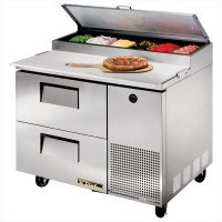 TRUE TPP-44D-2 pizza prep table drawered refrigerator
