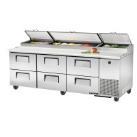 TRUE TPP-93D-6 pizza prep table drawered refrigerator