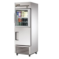 TRUE TS-23-1-G-1 reach-in refrigerator, one glass half and one stainless steel half door