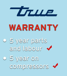 True has one of the most comprehensive product warranties available - five-year compressor warranty and three-year product warranty