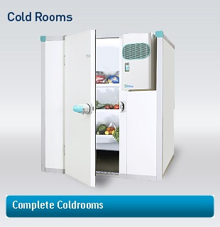 Walk in cold room with shelving and refrigeration