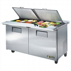 True TSSU-60-24M-B-DS-ST two-door dual-sided sandwich prep table refrigerator